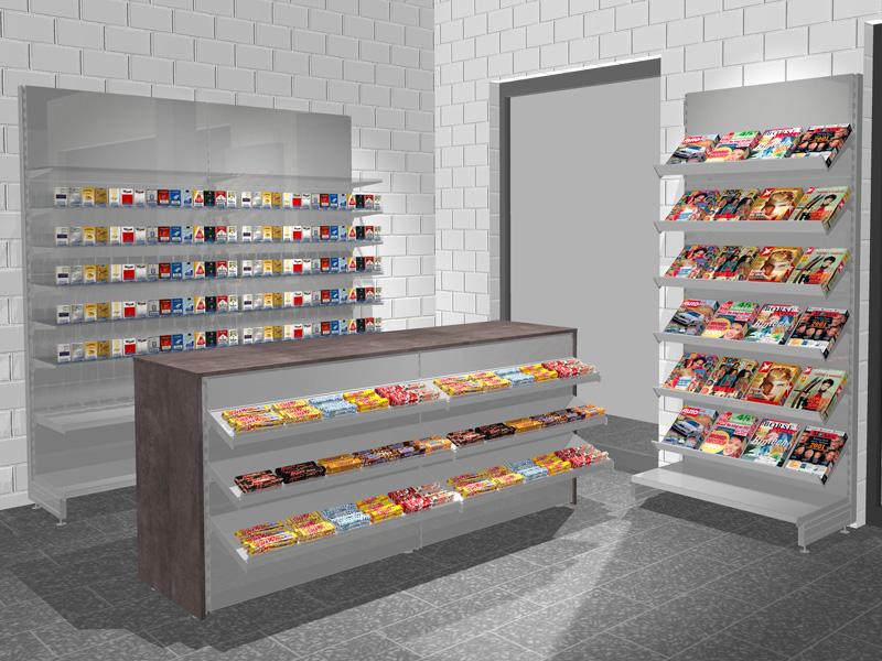 Günstige Kioskeinrichtung Mit Zigarettenregal Zeitschriftenregal